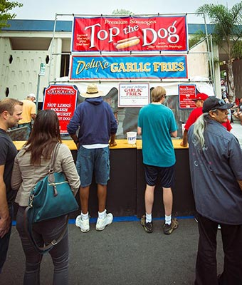 food booth - sausages and garlic fries