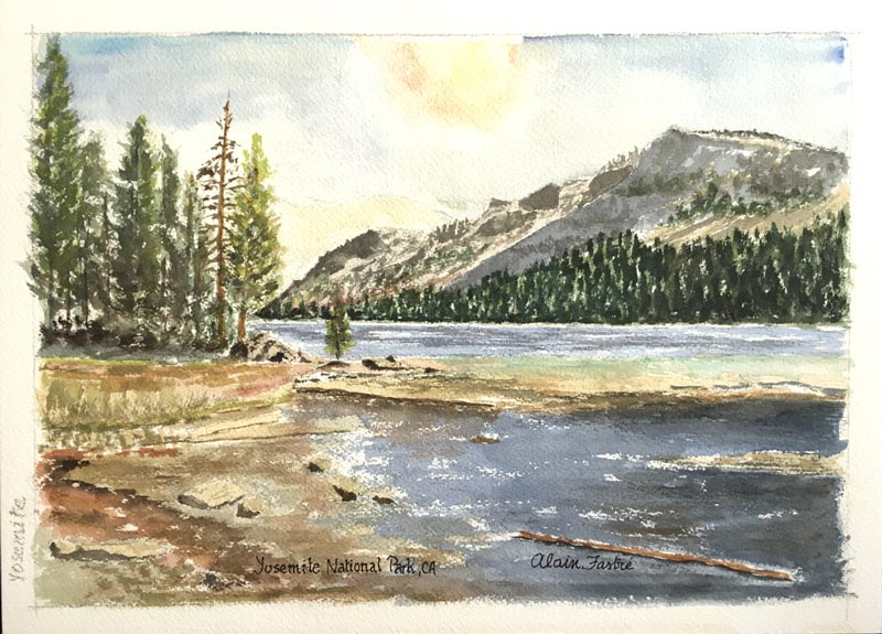 "Alain Fastre watercolor ""Yosemite National Park"""