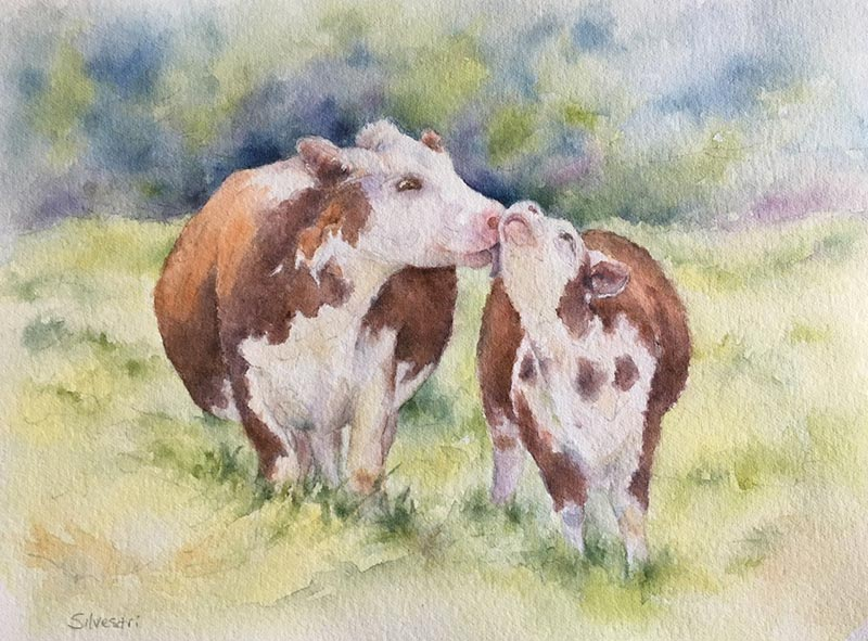 "Teresa Silvestri watercolor ""Mother Love"""