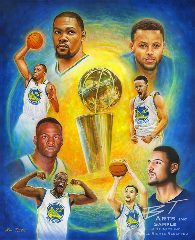 "Ben Teeter painting ""Golden State Champs"""