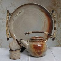 Ken Takara pottery, Shino Tea Set & Tray
